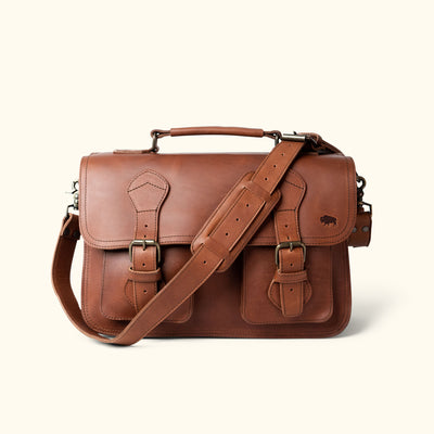Men's Best Leather Briefcase | Autumn Brown front
