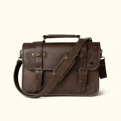 Rugged Leather Briefcase Dark Briar