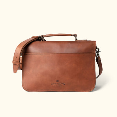 Luxury Leather Briefcase | Autumn Brown back
