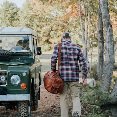 Denver Leather Travel Duffle Bag | Autumn Brown hover