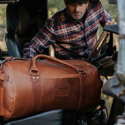 Vintage Leather Travel Duffle Bag | Autumn Brown