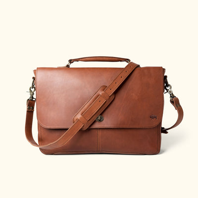 Men's Best Leather Laptop Messenger Bag | Autumn Brown front