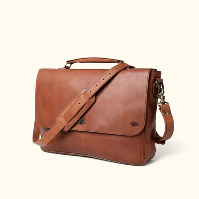 Full Grain Leather Laptop Messenger Bag | Autumn Brown turned