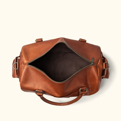 Best Leather Travel Duffle Bag | Autumn Brown interior