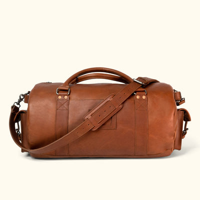 Men's Best Leather Travel Duffle Bag | Autumn Brown front