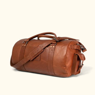 Best full grain Leather Travel Duffle Bag | Autumn Brown turned