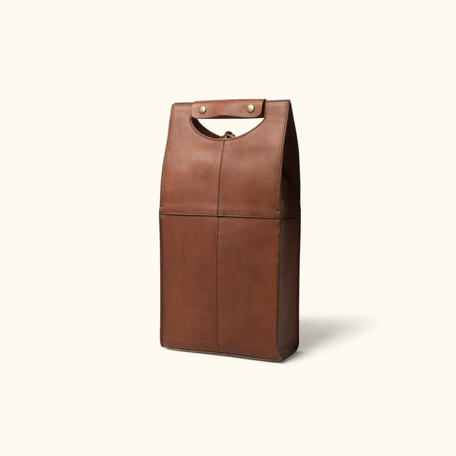 Denver Leather Wine Tote - Double | Autumn Brown