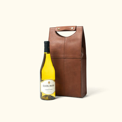 Full Grain Leather Wine Tote