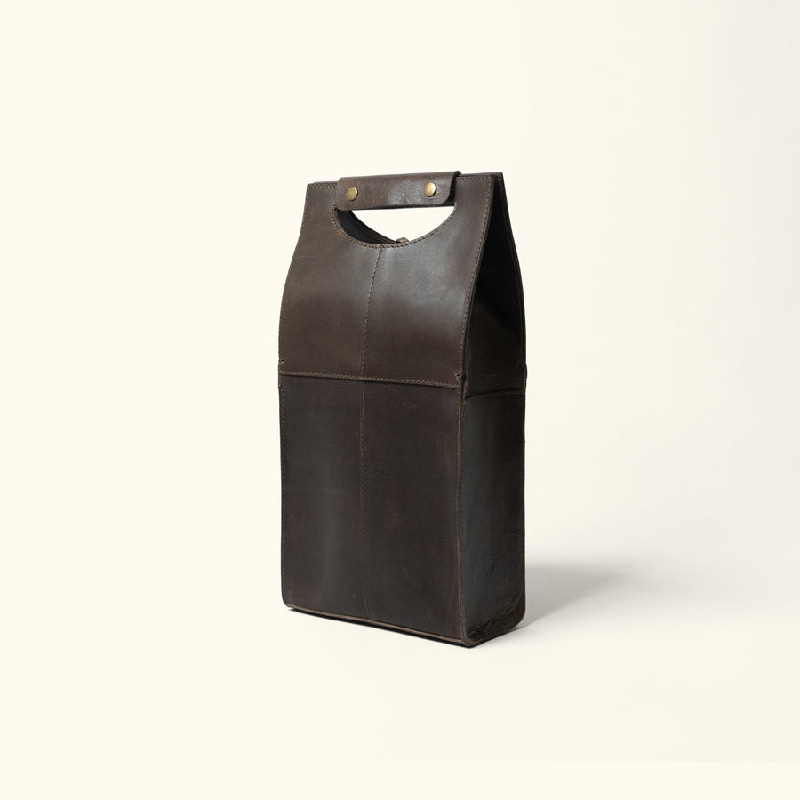 Leather Wine Tote