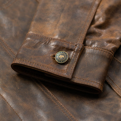 Vintage Detail Leather Jacket Cuff- Driggs Leather Jacket | Brown