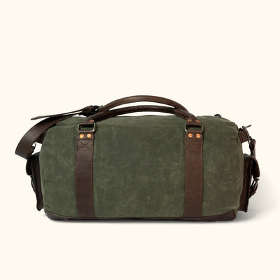 Denver Waxed Canvas Travel Duffle Bag | Green w/ Dark Briar Leather