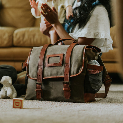 Elkton Waxed Canvas Diaper Bag | Moss w/ Autumn Brown Leather