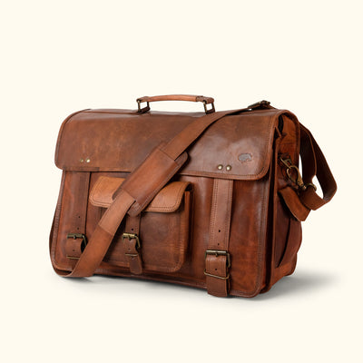 Everett Vintage Leather Briefcase Bag - Large hover