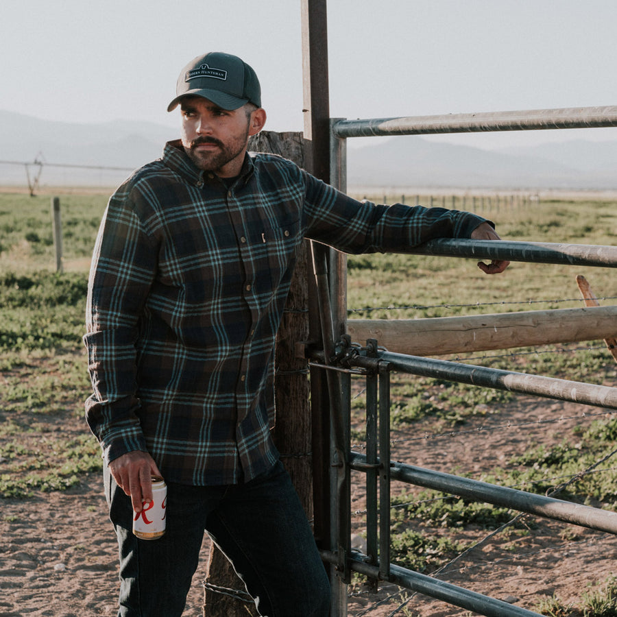 Men's Rugged Work Flannel Shirt Glacial Stream