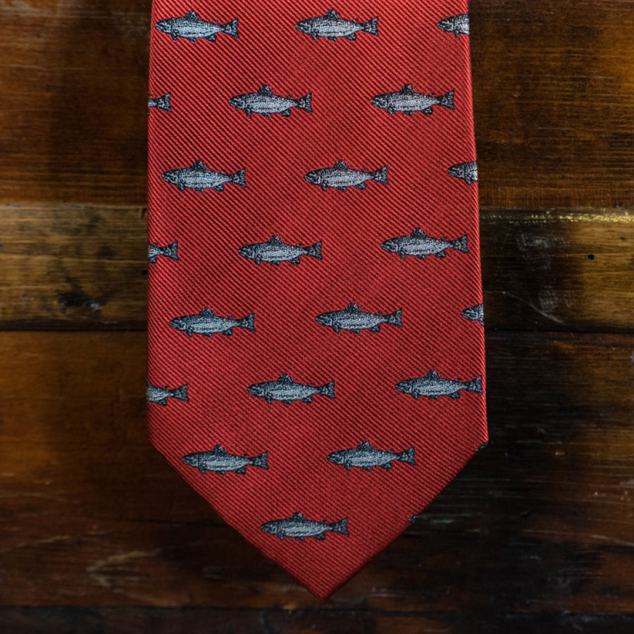 Necktie - Trout - Fire Red