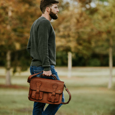 Men's Rugged Leather Travel Briefcase | Autumn Brown hover