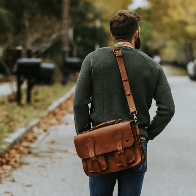 Rugged Leather Briefcase | Autumn Brown