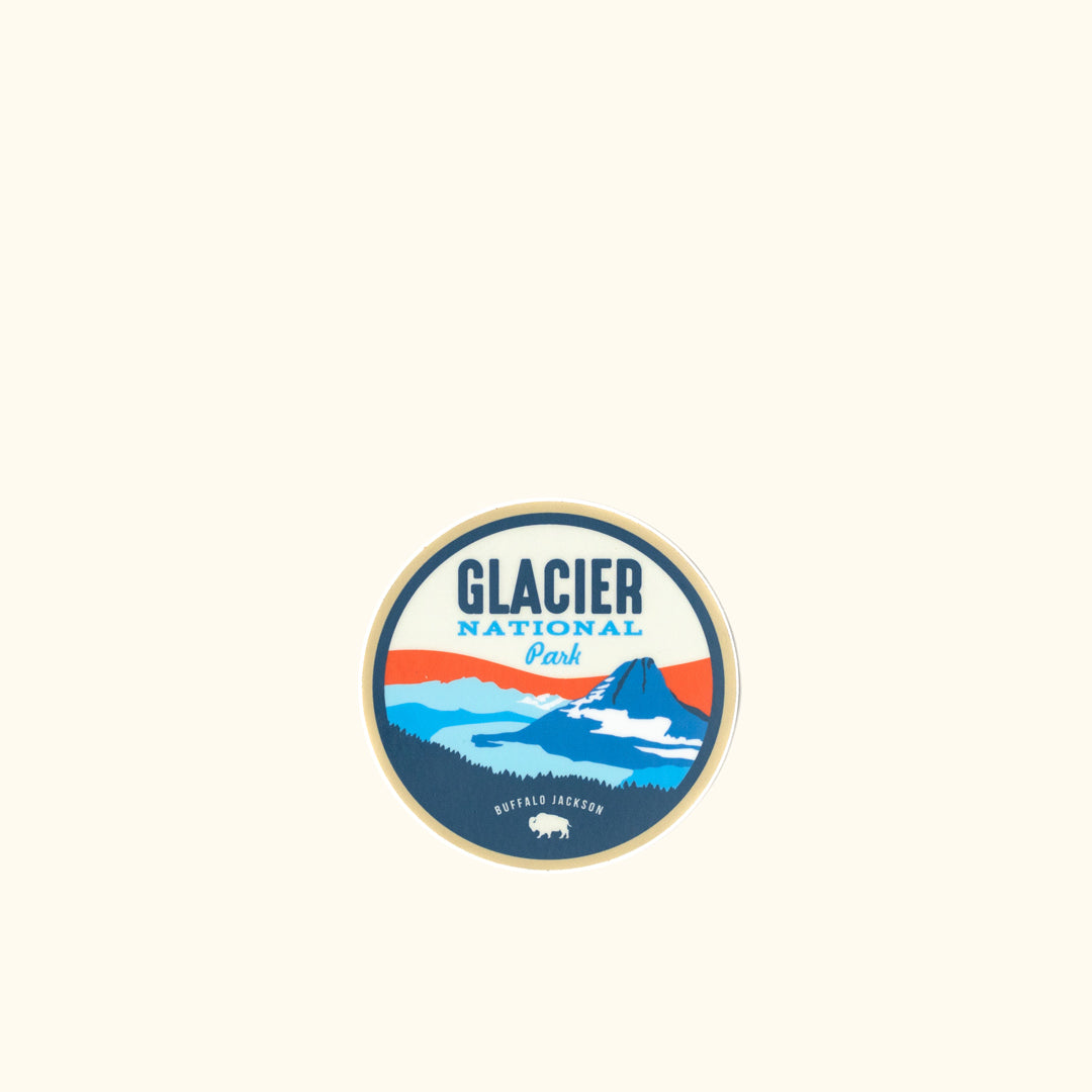 581733b53878f Glacier National Park Sticker - Buffalo Jackson