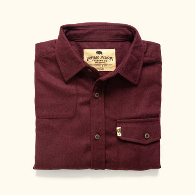 Mens rugged wool button down shirt
