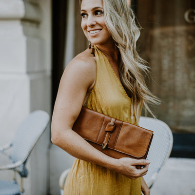 Chelsea Leather Clutch | Honey Brown hover