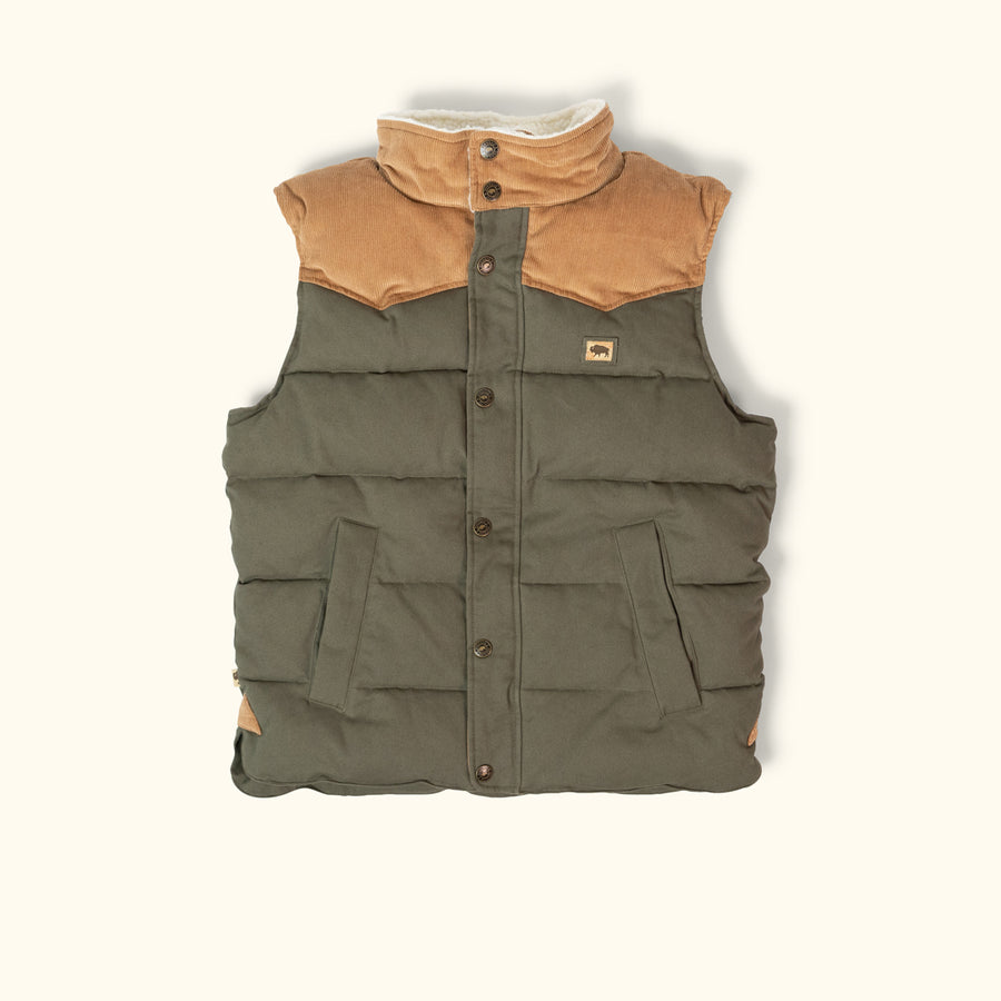 Jackson Vest w/ Sherpa Collar - Green and Khaki