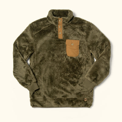 Mens Tough Cold Weather Kodiak fleece pullover birchwood green