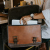 Men's Vintage Leather Belted Briefcase Light Brown