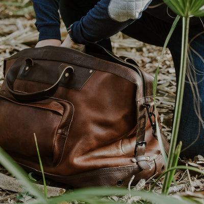 Vintage Leather Weekend Duffle Bag | Chestnut Brown w/ Dark Hazelnut
