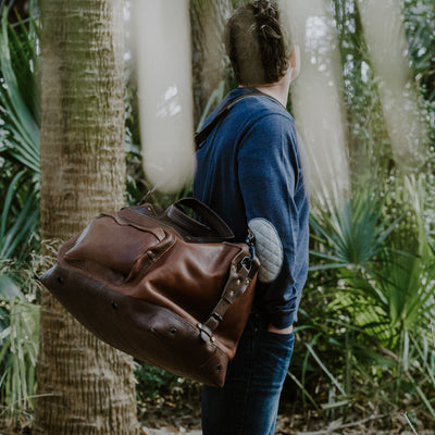 Rugged Leather Weekend Bag  Chestnut Brown w/ Dark Hazelnut