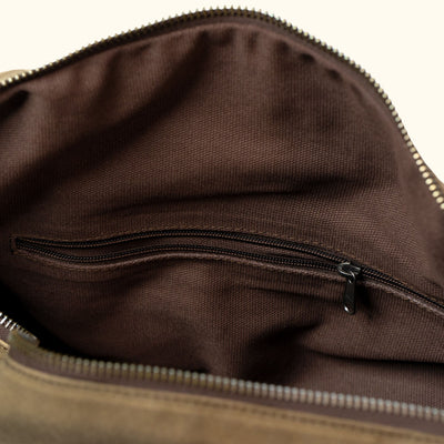 Elkton Waxed Canvas Travel Duffle Bag | Moss w/ Autumn Brown Leather