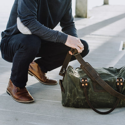 Elkton Waxed Canvas Duffle Bag | Green w/ Dark Walnut Leather