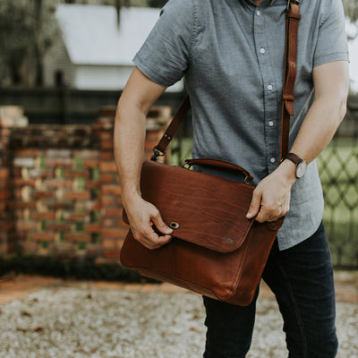Men's Favorite Leather Laptop Messenger Bag | Autumn Brown