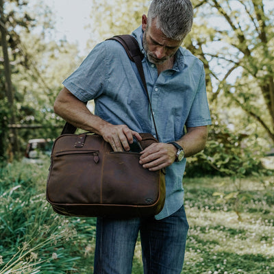 Modern Leather Pilot Bag | Vintage Oak