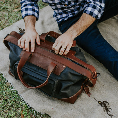 Vintage leather Waxed Canvas Weekend Bag | Navy Charcoal w/ Chestnut Brown Leather