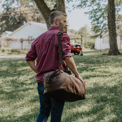 Modern Design Leather Weekend Bag | Vintage Oak hover