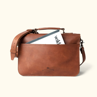Men's Travel Leather Briefcase | Autumn Brown