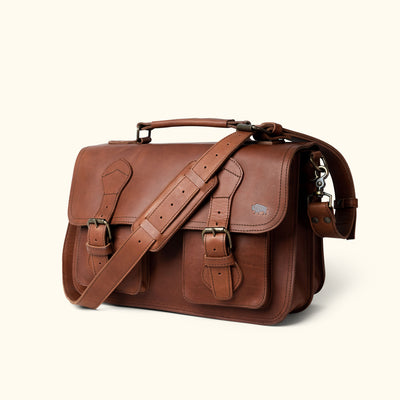 Full grain Leather Briefcase | Autumn Brown turned