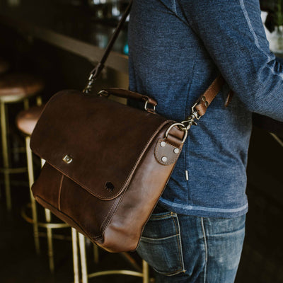 Denver Leather Laptop Messenger Bag | Dark Briar hover