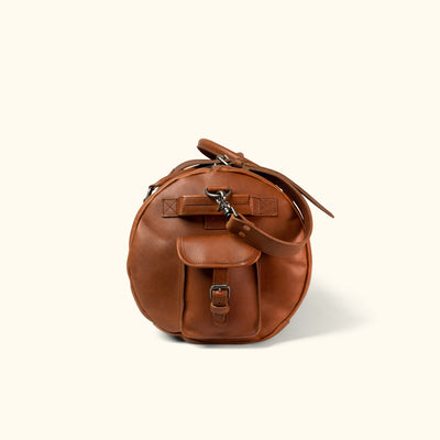 Men's Rugged Leather Travel Duffle Bag | Autumn Brown side