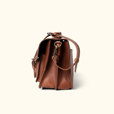 Vintage Leather Briefcase | Autumn Brown side