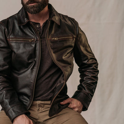 Men's Rugged Legacy Leather Jacket - Brown