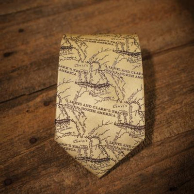 Lewis and Clark Map - Old Map Tan - Necktie - Detail