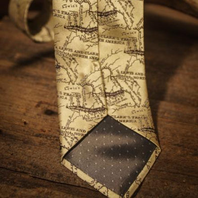 Lewis and Clark Map - Old Map Tan - Necktie - Back