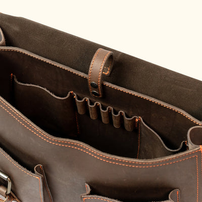 Modern Leather Briefcase | Limited Edition - Dark Briar interior