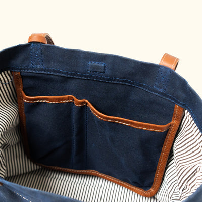 Madison Waxed Canvas Tote | Navy w/ Saddle Tan Leather