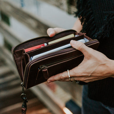 Madison Wristlet Wallet | Dark Hazelnut