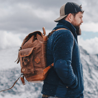 Dakota Waxed Canvas Rucksack | Russet Brown w/ Saddle Tan Leather hover