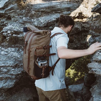 Rugged Hiking Canvas Rolltop Backpack | Field Khaki