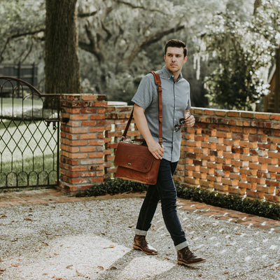 Denver Leather Laptop Messenger Bag | Autumn Brown