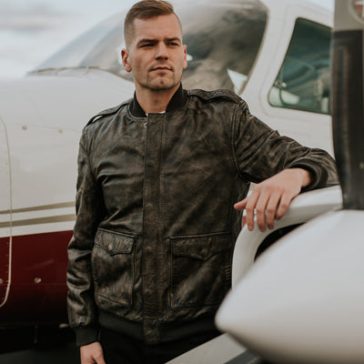 Men's Rebel Leather Flight Bomber Jacket - Distressed Black hover